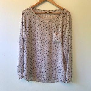 Loft Printed Chiffon Long Sleeve Blouse Top